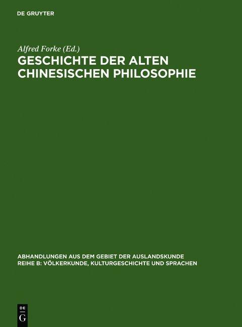 Geschichte der alten chinesischen Philosophie