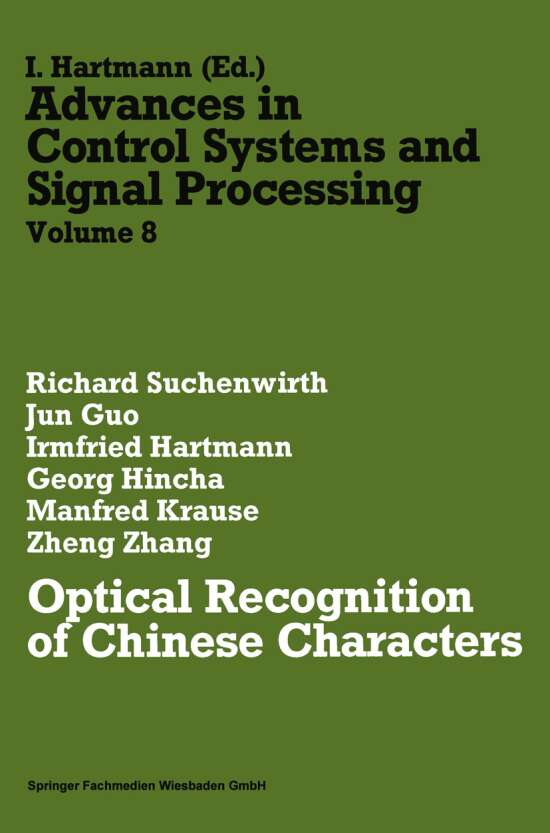 Optical Recognition of Chinese Characters