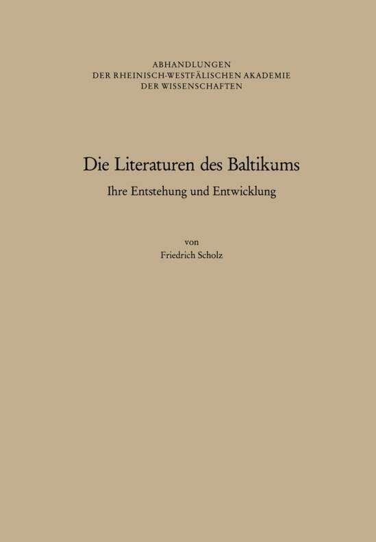 Die Literaturen des Baltikums