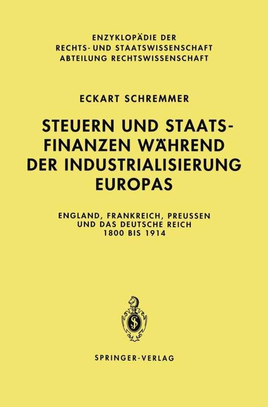 Steuern und Staatsfinanzen während der Industrialisierung Europas