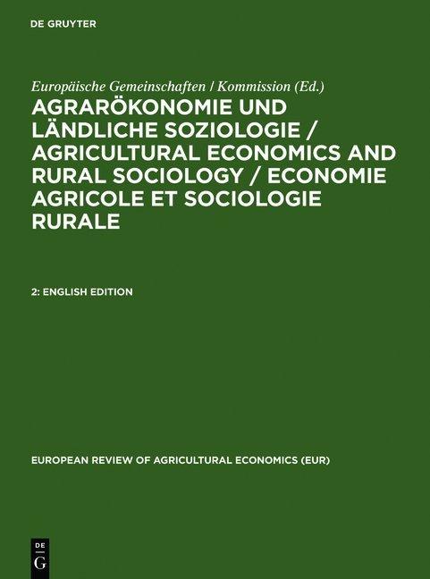 Agrarökonomie und ländliche Soziologie / Agricultural economics and... / English Edition