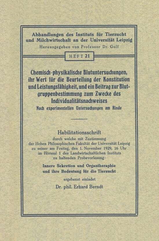 Chemisch-physikalische Blutuntersuchungen, ihr Wert für die Beurteilung der Konstitution und Leistungsfähigkeit, und ein Beitrag zur Blutgruppenbestimmung zum Zwecke des Individualitätsnachweises