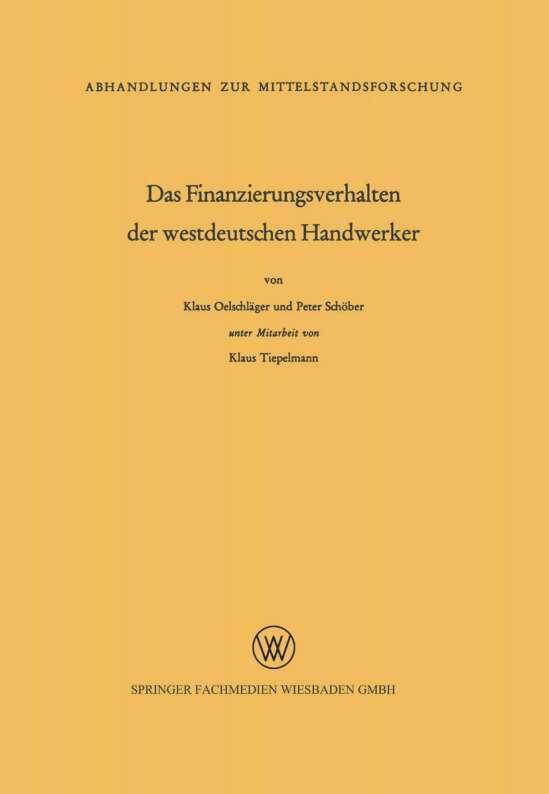 Das Finanzierungsverhalten der westdeutschen Handwerker