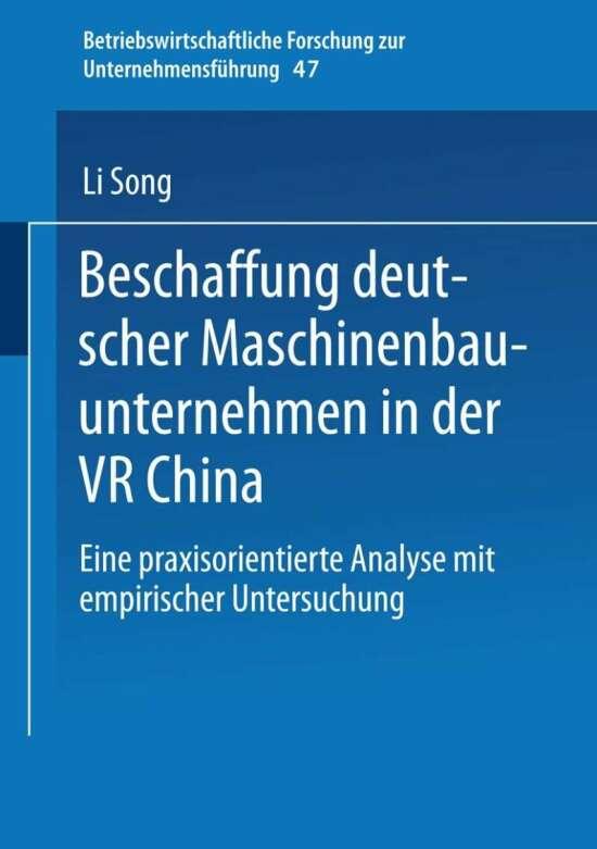 Beschaffung deutscher Maschinenbauunternehmen in der VR China