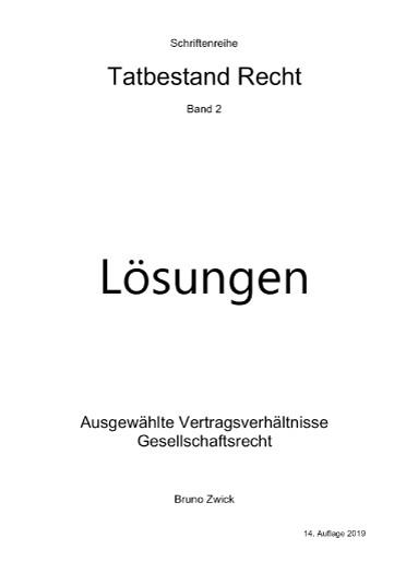 Tatbestand Recht Bd. 2, Lösungen